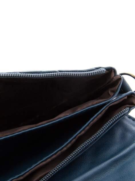 Ciemnoniebieska pikowana torba typu listonoszka                                  zdj.                                  8