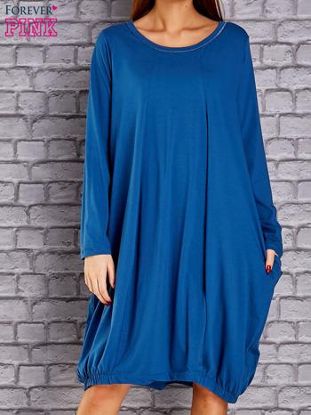 Ciemnoniebieska sukienka oversize ze ściągaczem na dole                                   zdj.                                  1