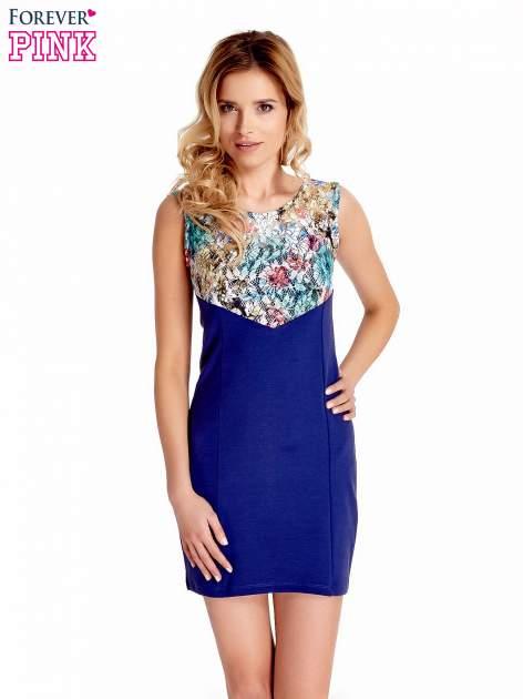 Ciemnoniebieska sukienka z kwiatową koronką                                  zdj.                                  1