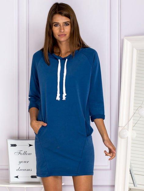 Ciemnoniebieska sukienka z troczkami                                  zdj.                                  1