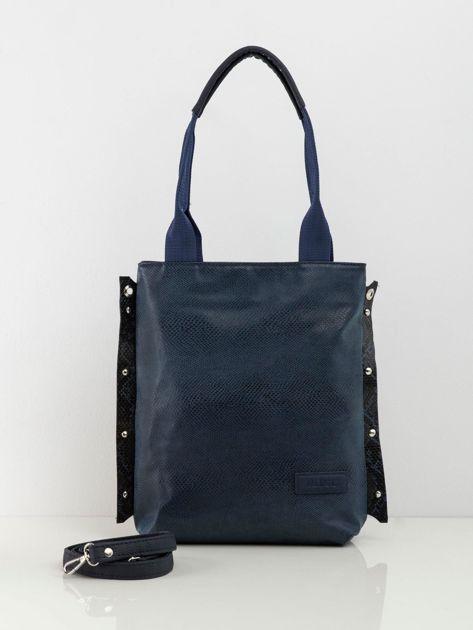 Ciemnoniebieska torba damska ze skóry ekologicznej