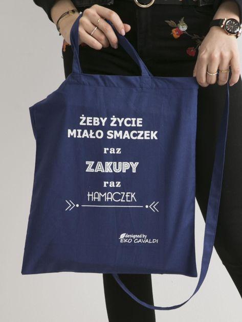 Ciemnoniebieska torba ekologiczna z bawełny z napisem                              zdj.                              1