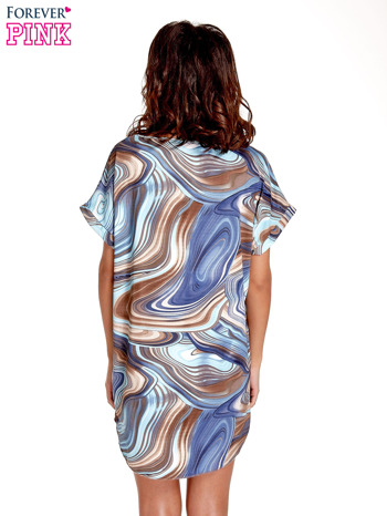 Ciemnoniebieska tunika z wzorzystym nadrukiem                                  zdj.                                  4