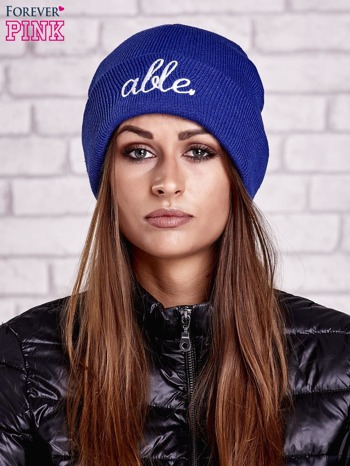 Ciemnoniebieska wywijana czapka z napisem ABLE                                  zdj.                                  1