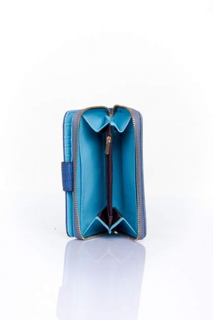 Ciemnoniebieski portfel z ozdobną złotą klamrą                                  zdj.                                  5