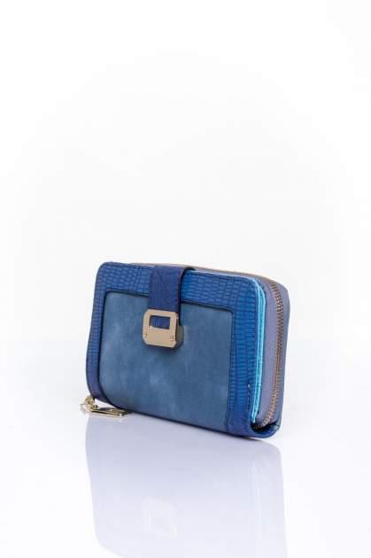 Ciemnoniebieski portfel ze złotą klamerką                                  zdj.                                  3