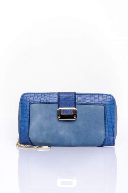 Ciemnoniebieski portfel ze złotą klamerką                                  zdj.                                  1