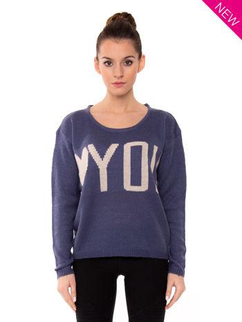 Ciemnoniebieski sweter z sercem i napisem YOU                                  zdj.                                  2