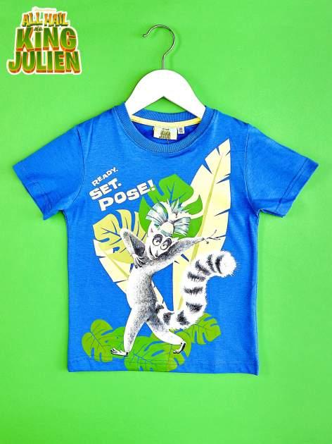 Ciemnoniebieski t-shirt chłopięcy KRÓL JULIAN                                  zdj.                                  1