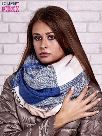 Ciemnoniebieski wełniany szalik w szeroką kratę                                  zdj.                                  1