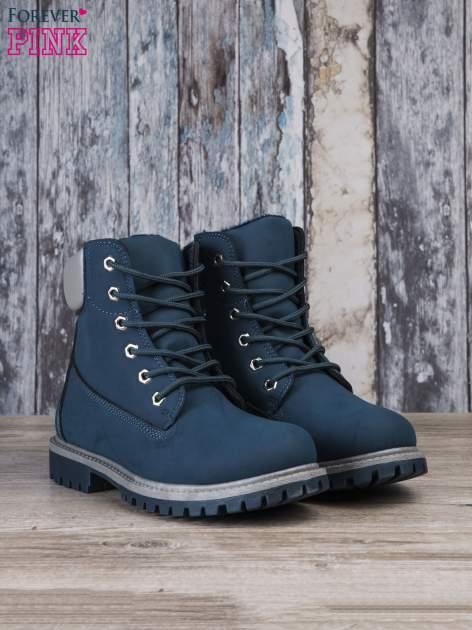 Ciemnoniebieskie buty trekkingowe Amina damskie traperki ocieplane                                  zdj.                                  3