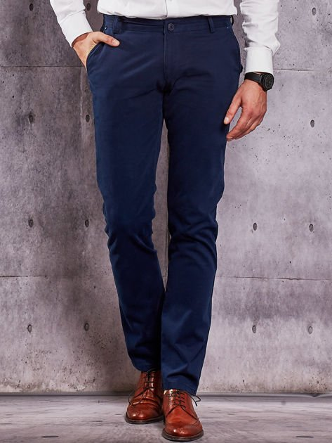 Ciemnoniebieskie materiałowe spodnie męskie chinosy                              zdj.                              1