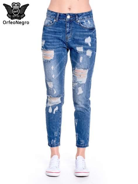 Ciemnoniebieskie spodnie boyfriend jeans z efektem destroyd                                  zdj.                                  3