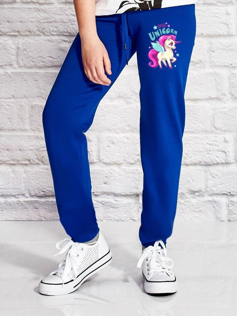 Ciemnoniebieskie spodnie dresowe dla dziewczynki LITTLE UNICORN                                  zdj.                                  1
