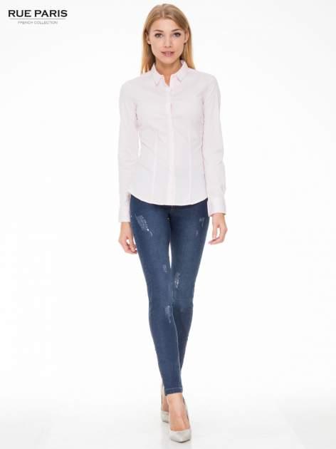 Ciemnoniebieskie spodnie jeansowe rurki z przetarciami                                  zdj.                                  2