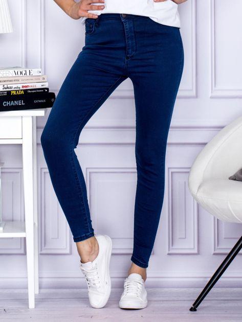 Ciemnoniebieskie spodnie jeansowe slim z wysokim stanem                                  zdj.                                  1