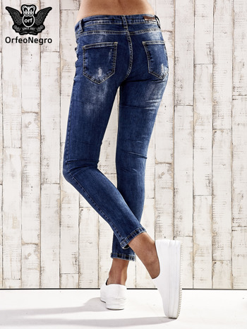 Ciemnoniebieskie spodnie jeansy marble denim                                  zdj.                                  3