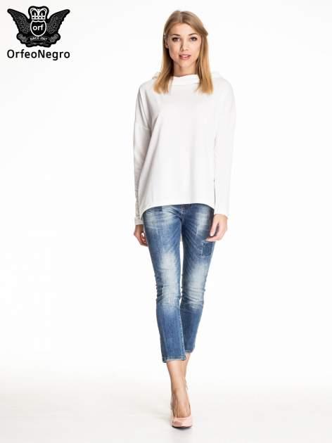 Ciemnoniebieskie spodnie skinny jeans z łatami                                  zdj.                                  2