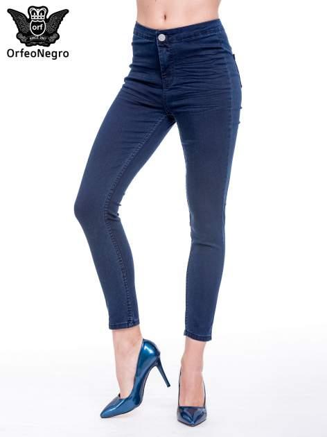 Ciemnoniebieskie spodnie skinny jeans z wysokim stanem                                  zdj.                                  1