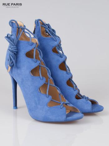 Ciemnoniebieskie wiązane szpilki lace up z zamkiem Lauren                                  zdj.                                  2