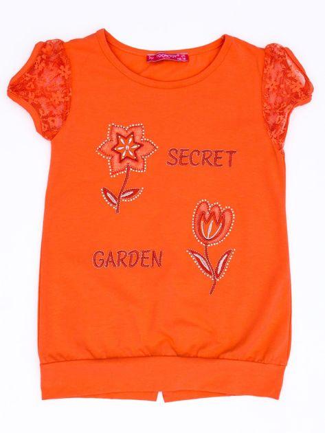 Ciemnopomarańczowy t-shirt dla dziewczynki z kwiatami                              zdj.                              1