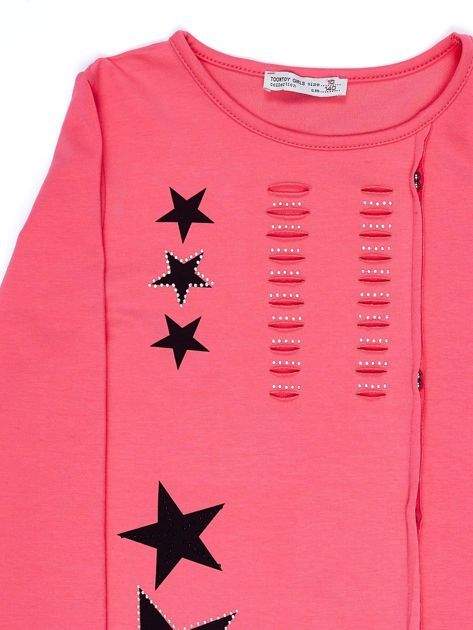 Ciemnoróżowa asymetryczna tunika dziewczęca z gwiazdkami                              zdj.                              3