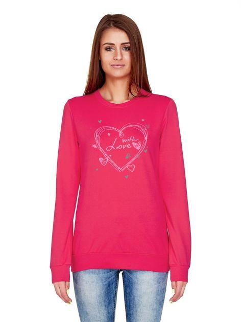 Ciemnoróżowa bluza z napisem WITH LOVE