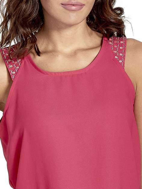 Ciemnoróżowa bluzka koszulowa z koralikami przy ramionach                                  zdj.                                  5