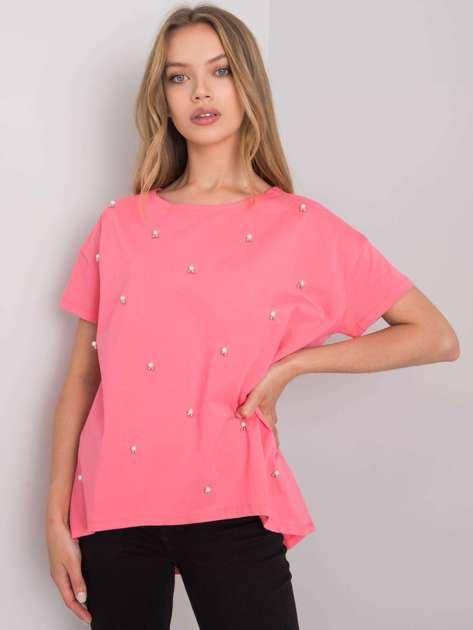 Ciemnoróżowa bluzka z aplikacją Etty