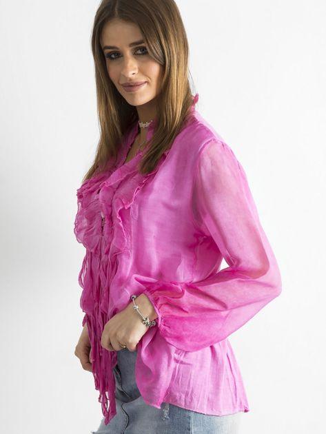 Ciemnoróżowa bluzka z żabotem                              zdj.                              3