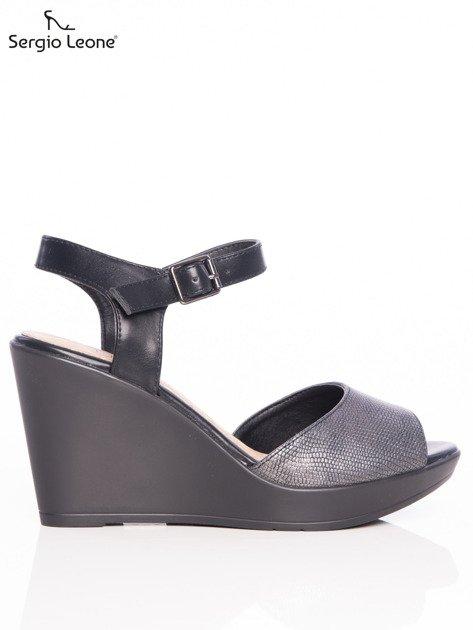 Ciemnosrebrne tłoczone sandały Sergio Leone na koturnach                              zdj.                              1