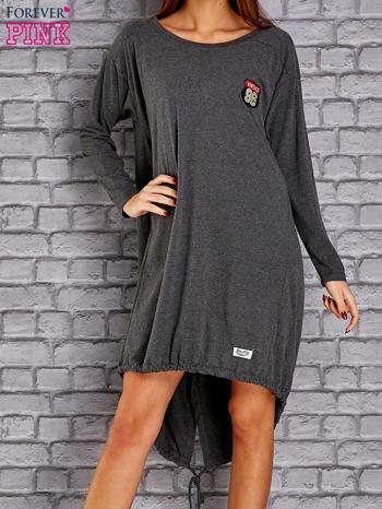 Ciemnoszara asymetryczna sukienka z naszywką i troczkami                              zdj.                              1