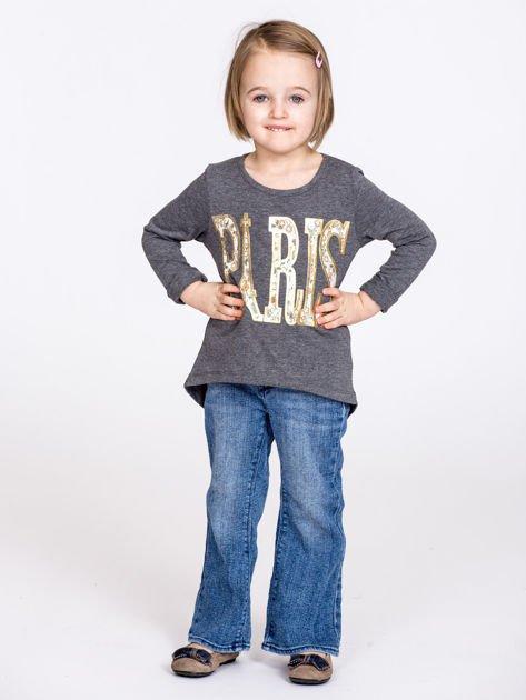 Ciemnoszara bawełniana bluzka dziewczęca z napisem PARIS                              zdj.                              7