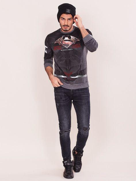 Ciemnoszara bluza dresowa dla mężczyzny z nadrukiem                              zdj.                              4