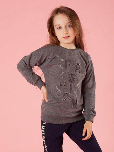 Ciemnoszara bluza dziewczęca z aplikacjami