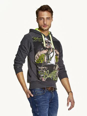 Ciemnoszara bluza męska z raperskim nadrukiem                               zdj.                              3