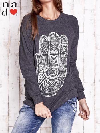 Ciemnoszara bluza z motywem dłoni