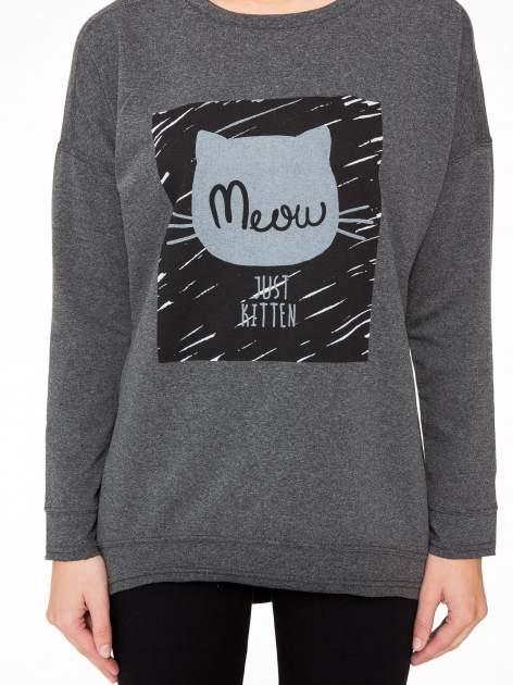 Ciemnoszara bluza z nadrukiem MEOW                                  zdj.                                  8