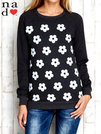 Ciemnoszara bluza z nadrukiem kwiatów                                  zdj.                                  1