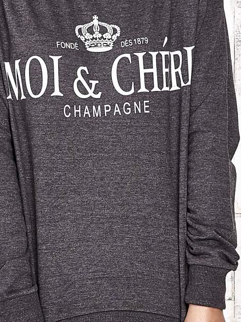 Ciemnoszara bluza z napisem MOI & CHÉRI                                  zdj.                                  5