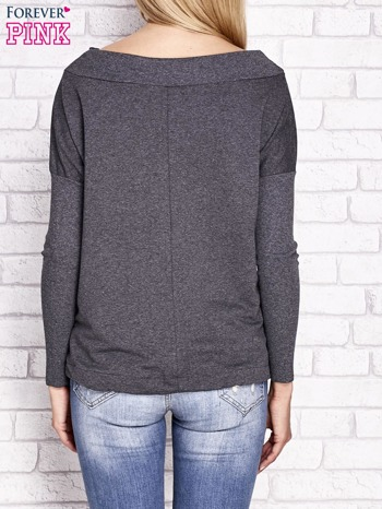 Ciemnoszara bluza z szerokim ściągaczem i troczkami                              zdj.                              2