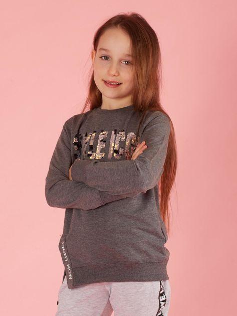 Ciemnoszara bluzka dziewczęca z cekinowym napisem                              zdj.                              1