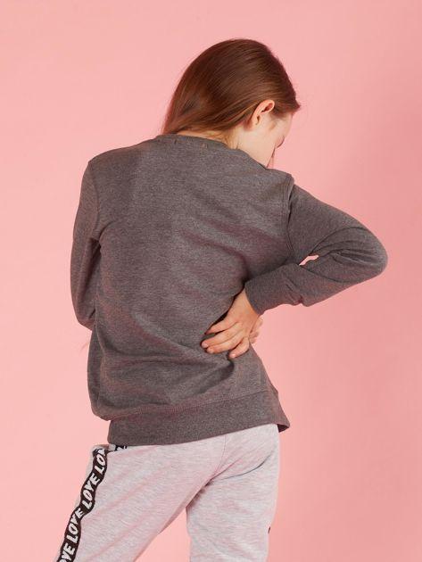 Ciemnoszara bluzka dziewczęca z cekinowym napisem                              zdj.                              2