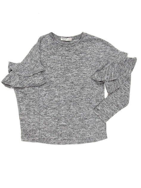 Ciemnoszara bluzka dziewczęca z falbankami na rękawach                              zdj.                              4