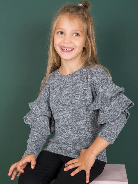 Ciemnoszara bluzka dziewczęca z falbankami na rękawach                              zdj.                              1