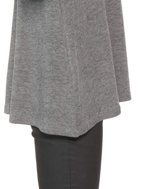 Ciemnoszara bluzka o rozkloszowanym kroju z rękawami 3/4                                  zdj.                                  8