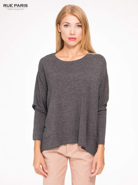 Ciemnoszara bluzka oversize o obniżonej linii ramion                                  zdj.                                  1