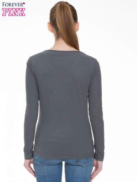 Ciemnoszara bluzka z długim rękawem z bawełny                                  zdj.                                  4