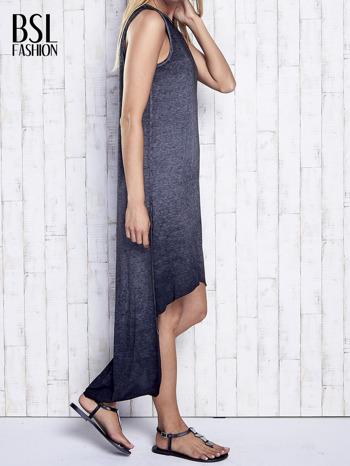 Ciemnoszara dekatyzowana sukienka maxi z dłuższym tyłem                                  zdj.                                  4