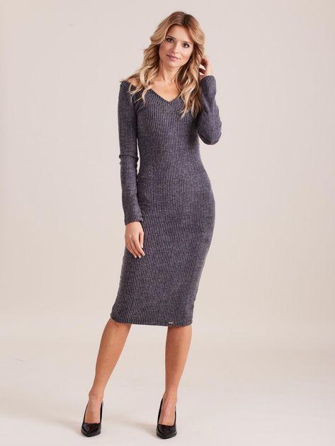 Ciemnoszara dopasowana sukienka cold shoulder                              zdj.                              4